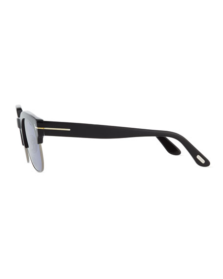 Harry Acetate/Metal Half-Rim Sunglasses