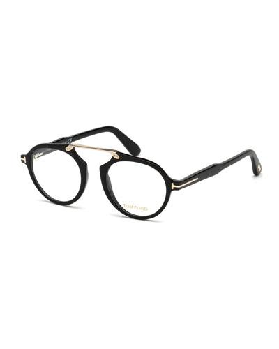 Round Acetate Optical Bridgeless Glasses