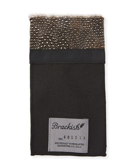 Brackish Bowties Guinea Fowl Feather Pocket Square