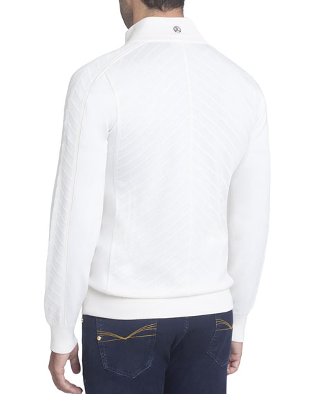 Zip-Front Silk-Cotton Cardigan