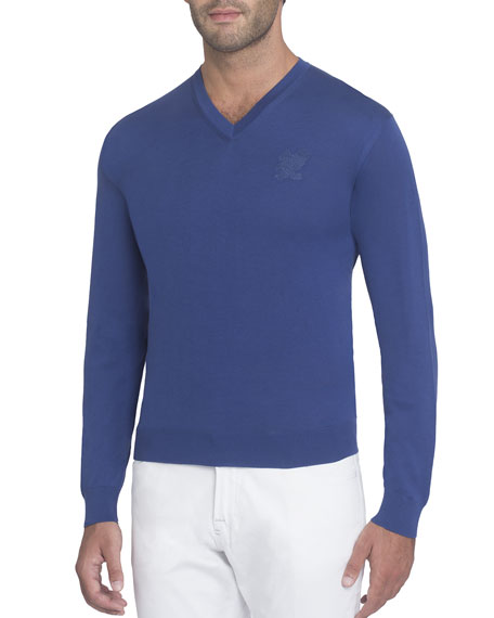 Silk V-Neck Sweater with Tonal Eagle