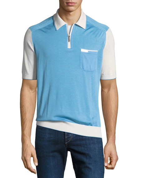 Men's Silk-Cotton Zip-Placket Polo Shirt
