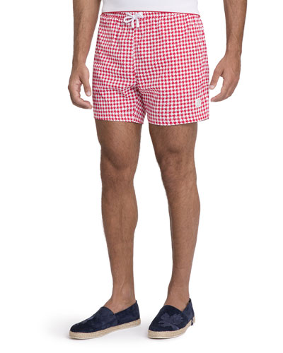 Gingham-Pattern Swim Trunks
