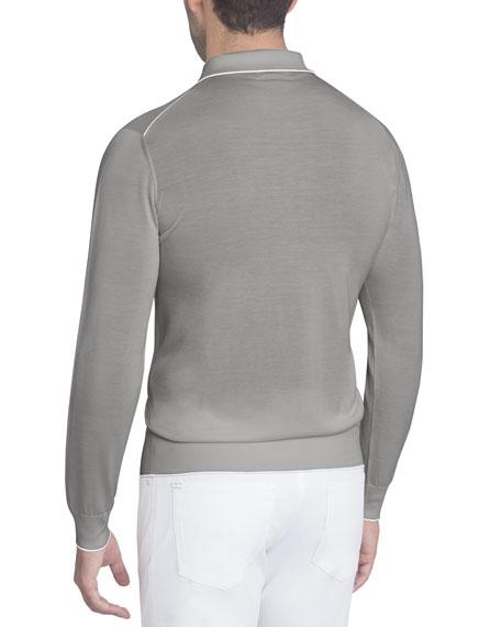 Half-Zip Long-Sleeve Silk Polo Shirt