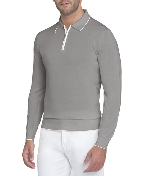 Half-Zip Long-Sleeve Silk Polo Shirt