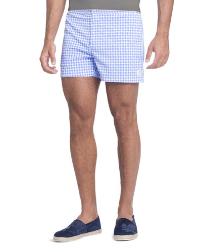Gingham-Pattern Swim Trunks, Blue