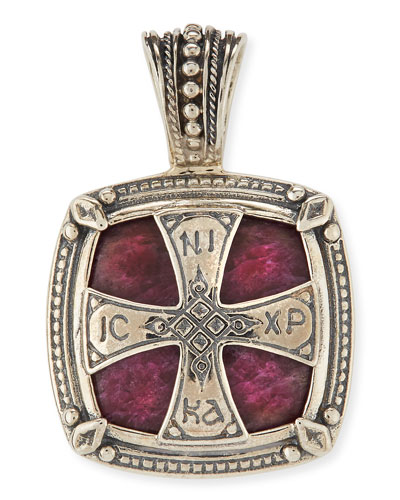 Henos Men's Sterling Silver Cross Pendant with Ruby Root