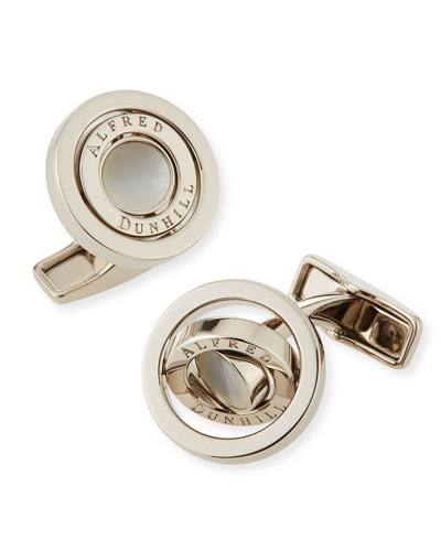 Gyro Cuff Links with Mother of Pearl