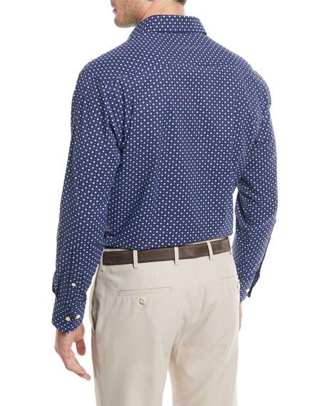 Jennings Performance Flower-Dot Print Sport Shirt