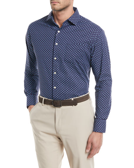 Peter Millar Jennings Performance Flower-Dot Print Sport Shirt