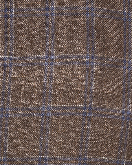 Windowpane Wool-Blend Two-Button Jacket