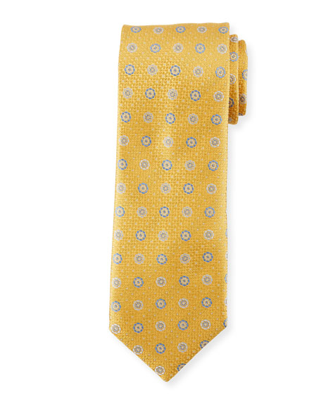 Alternating Circles Silk Tie, Yellow