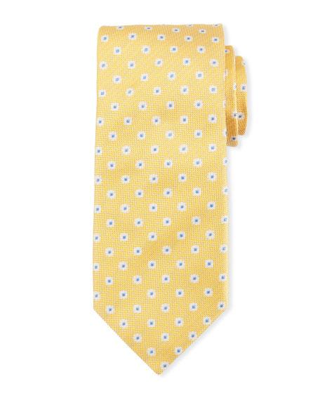 Canali Box Dot Silk Tie, White/Yellow