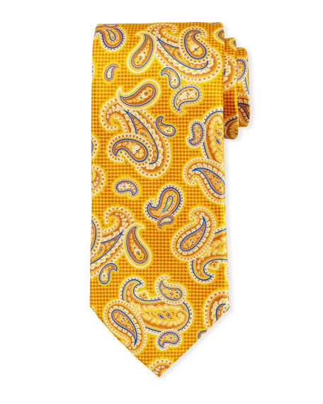 Canali Printed Paisley Silk Tie, Yellow