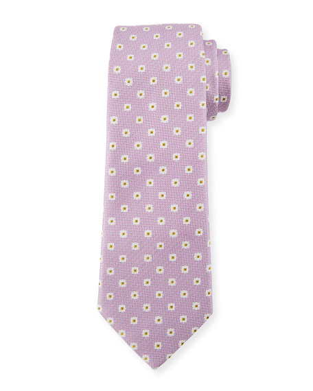 Canali Box Dot Silk Tie, White/Purple