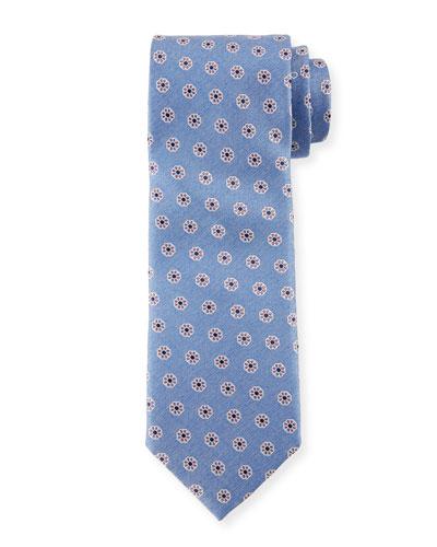 Santa Maria Floral Silk Tie, Blue