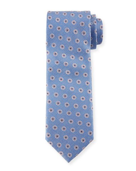 Canali Santa Maria Floral Silk Tie, Blue