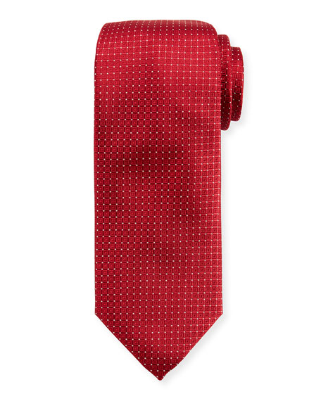Canali Tonal Box-Pattern Silk Tie, Red
