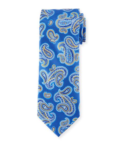 Printed Paisley Silk Tie, Blue