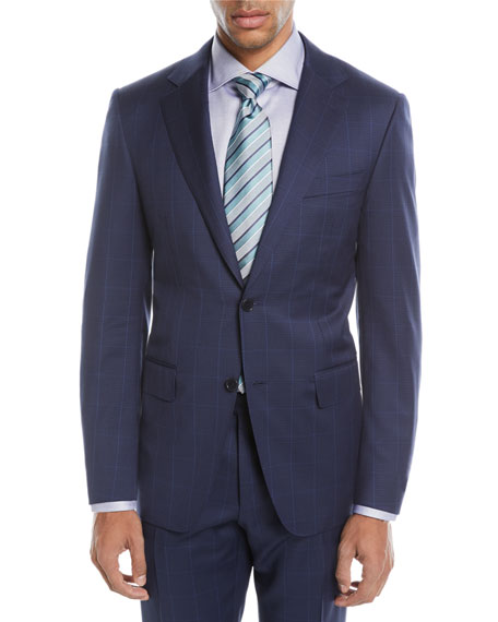 Windowpane Two-Piece Wool Suit, Blue