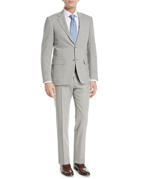 Heathered Solid Wool Two-Piece Suit