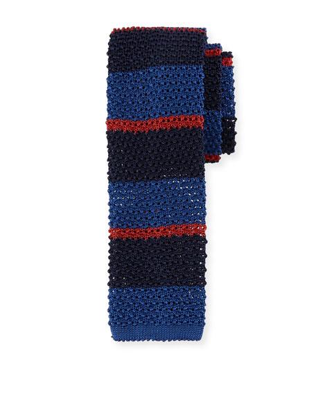 Canali Horizontal Striped Knit Tie