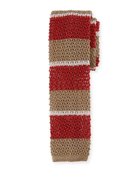Canali Horizontal Striped Knit Tie, Khaki