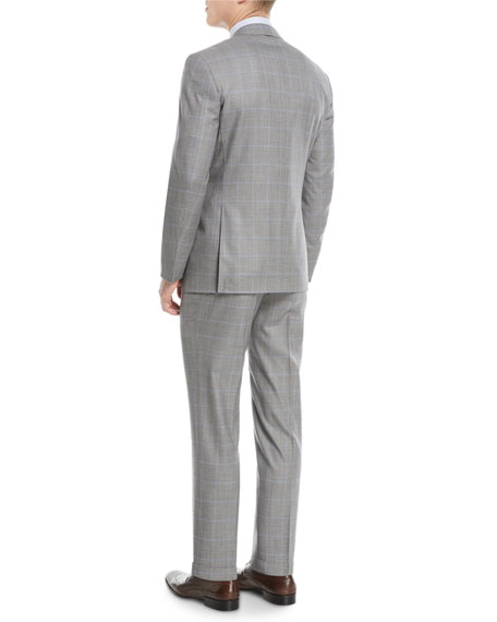 Windowpane Two-Piece Wool Suit, Light Gray