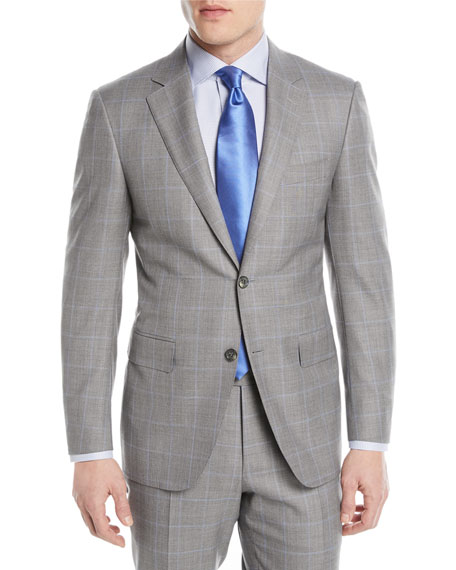 Canali Windowpane Two-Piece Wool Suit, Light Gray