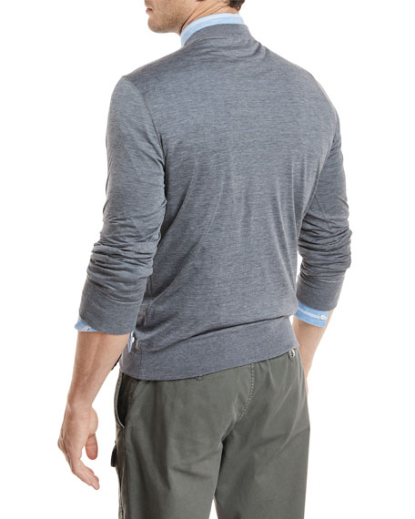Heathered Silk/Cotton Jersey Sweatshirt