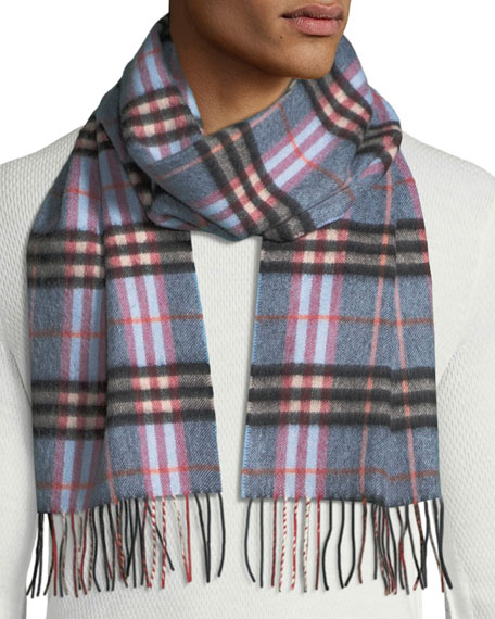 Burberry Men's Cashmere Giant Icon Check Scarf, Blue