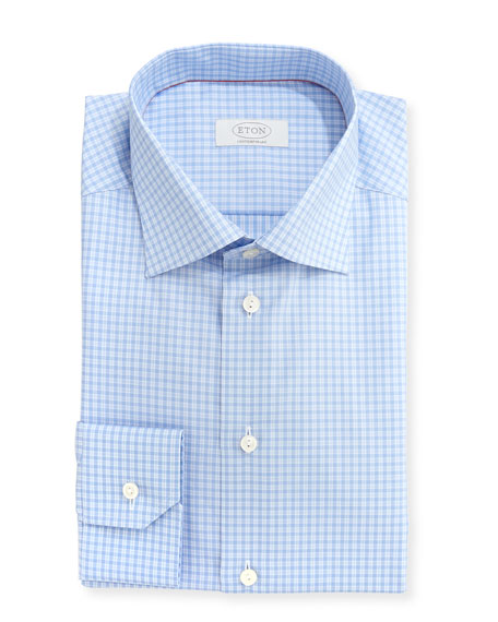 Eton Contemporary-Fit Check Dress Shirt, Light Blue/White