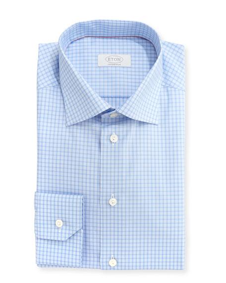 Eton Contemporary-Fit Check Dress Shirt, Light Blue/White