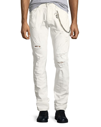 Super-Distressed Slim Jeans with Chain Detail