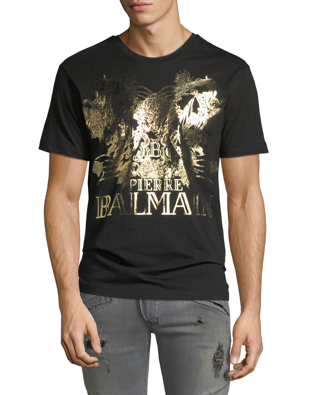 6dcc065d6f Pierre Balmain Foil Koi-Print Logo Crewneck T-Shirt | Neiman Marcus