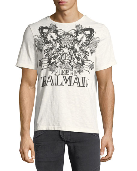 Pierre Balmain Koi-Print Logo Crewneck T-Shirt