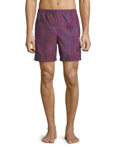 Men's Warped Stripes Swim Trunks