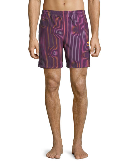 Men's Warped Stripes Swim Trunks