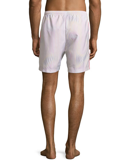 Men's Warped Stripes Swim Trunks, Chalk/Pear