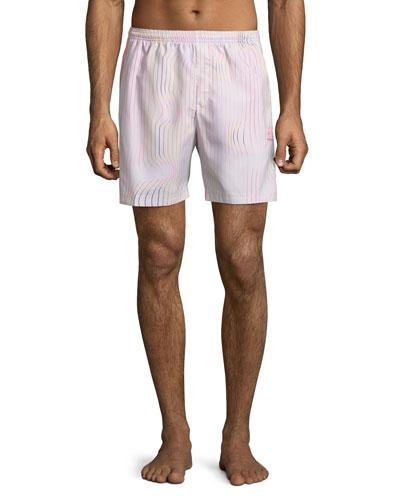 Men's Warped Stripes Swim Trunks, Chalk/Pear