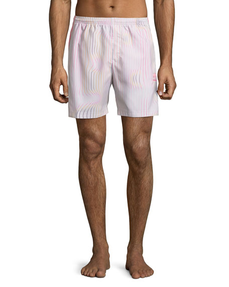 Adidas Men's Warped Stripes Swim Trunks, Chalk/Pear