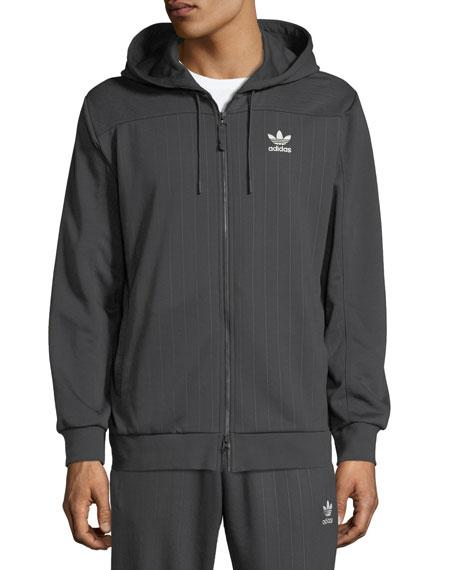 Men's Pinstriped Zip-Front Hoodie Sweatshirt