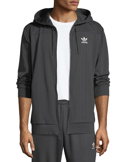 Adidas Men's Pinstriped Zip-Front Hoodie Sweatshirt