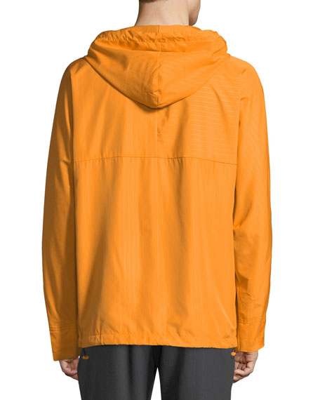 Men's Pinstripe Quarter-Zip Wind-Resistant Jacket