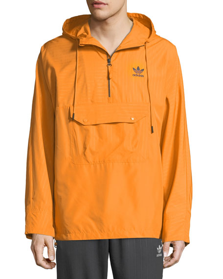 Adidas Men's Pinstripe Quarter-Zip Wind-Resistant Jacket