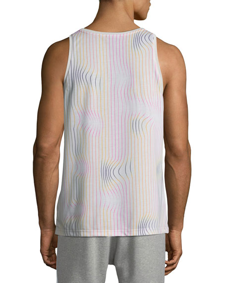 Men's Warped Stripes Logo-Graphic Tank