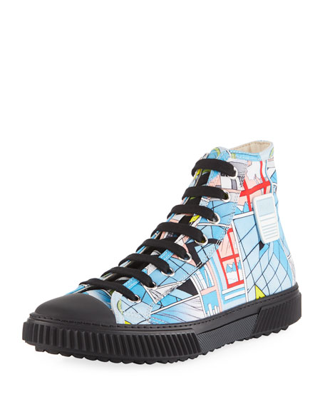 Men's Comic-Print Canvas High-Top Sneakers