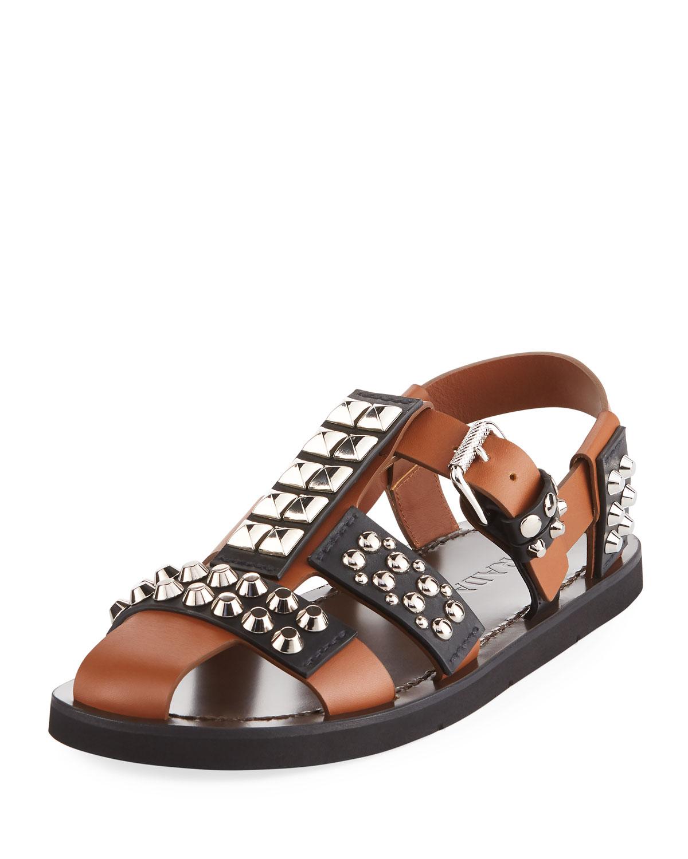 fa418140bff Prada Novo Studded Leather Sandal