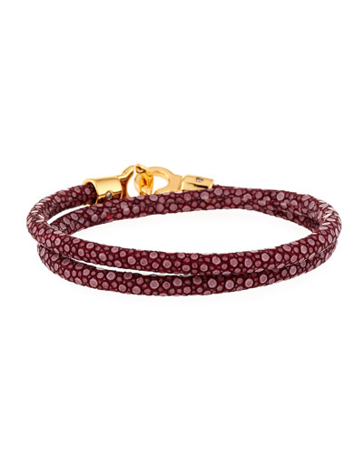 Men's Stingray Wrap Bracelet  Dark Red