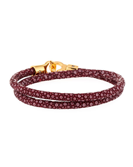 Brace Humanity Men's Stingray Wrap Bracelet, Dark Red